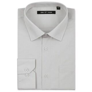 Verno Luxton Men's Grey Classic Fashion Fit Dress Shirt