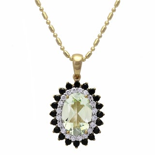 Beverly Hills Charm 14k Yellow Gold 3/16ct TDW Diamond Black Sapphires and Green Amethyst Necklace (H-I, SI2-I1)