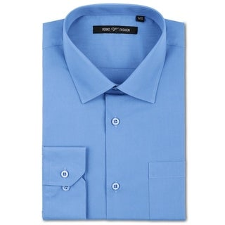 Verno Luxton Men's Light Blue Fashion Fit Dress Shirt