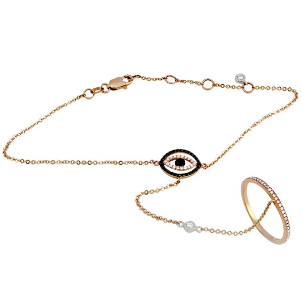 Beverly Hills Charm 14k Rose Gold 3/10ct TDW Black and White Diamond Blue Sapphire Evil Eye Bracelet and Ring Set (H-I, SI2-I1)