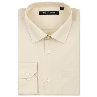 Verno Luxton Men's Taupe Classic Fashion Fit Dress Shirt
