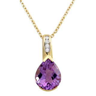 Beverly Hills Charm 14k Yellow Gold 1/14ct TDW Diamond and Pink Amethyst Necklace (H-I, SI2-I1)