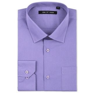 Verno Luxton Men's Lavender Classic Fashion Fit Dress Shirt
