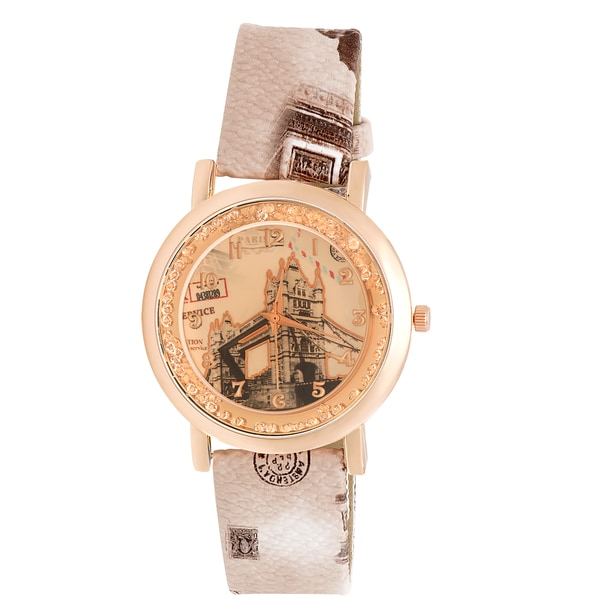 JWI Womens Tower Bridge Faux Leather Watch