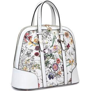 Dasein Zip Around Flat Bottom Floral Fashion Satchel Handbag
