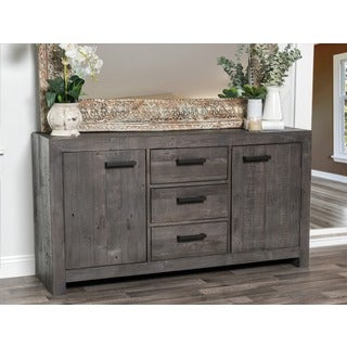 Kosas Home Hand-crafted Oscar Rustic Grey Recovered Shipping Pallets 3-drawer, 2-door Buffet