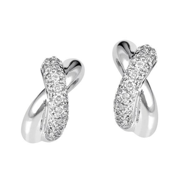 Poiray Criss-Cross 18K White Gold Diamond Earrings