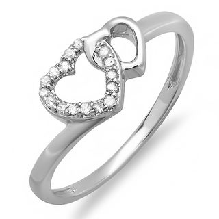 Sterling Silver 1/10ct TDW Round White Diamond Promise Double Heart Love Engagement Ring (H-I, I1-I2)