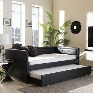 Baxton Studio Eris Black or White Faux Leather Button-tufting Sofa Twin Daybed with Roll-out Trundle Bed