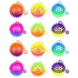 VT Flashing LED Light Up Dual Color Party Favor Squishy Spiky Toy Yo-Yo Balls (Set of 12) (Colors May Vary)