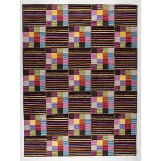 Hand-woven Khema4 Brown/ Multicolored Rug (4'6 x 6'6)