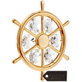 Matashi 24k Goldplated Captain's Wheel Ornament Made with Genuine Matashi Crystals
