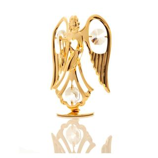 24k Goldplated Charming Angel Playing The Lovely Harp Table Top Made with Genuine Matashi Crystals