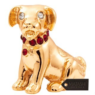 24k Goldplated Year of The Dog Table Top Made with Genuine Matashi Crystals