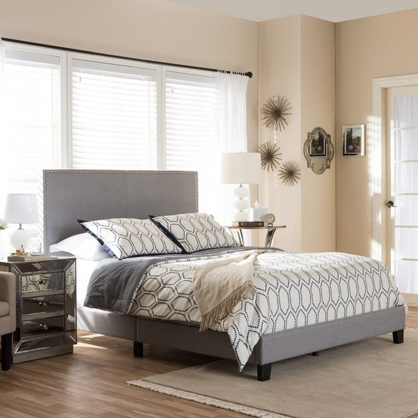 Baxton Studio Simonides Contemporary Grey/ Beige Upholstered Queen Size Platform Bed with Nailheads