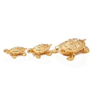 24k Goldplated Amazing Family of Turtles Figurines Made with Genuine Matashi Crystals