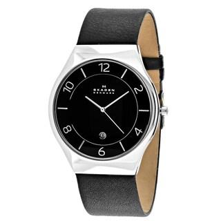 Skagen Men's SKW6115 Grenen Round Black Leather Strap Watch