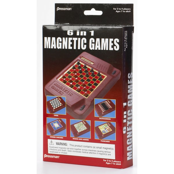 Pressman 2261-06 6 In 1 Travel Magnetic Games 17781983