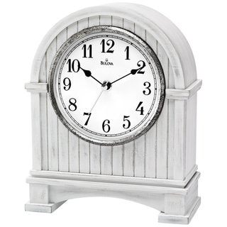 Bulova B1671 Pembroke Mantel Clock Wood Case with an Aaged White Finish and a Antique Nickel-Finish Bezel Ring
