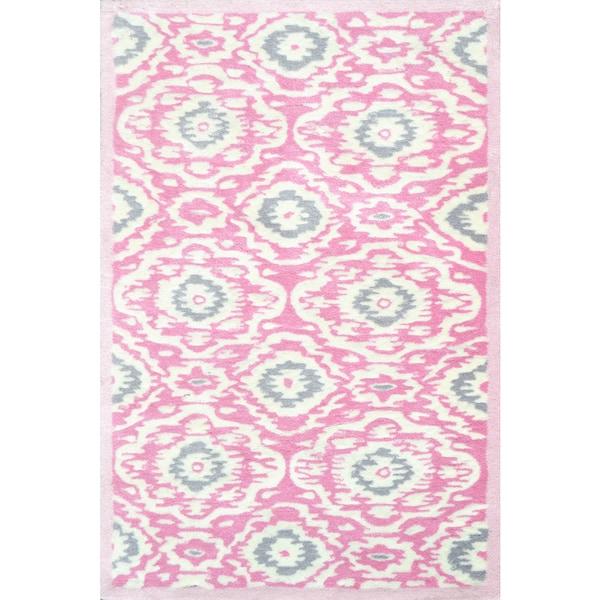 Hand-tufted Ikat-kidi Pink/ White/ Grey Rug (2'8 x 4'8)