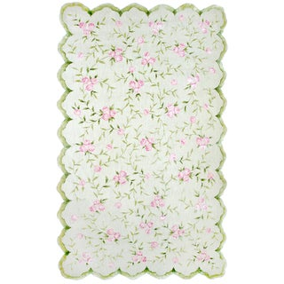 Hand-hooked Sweet Rose/ Pink/ Green Rug - 2'8 x 4'8