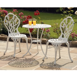 Tulip 3pc Cast Aluminium Bistro Set White w/ Black Seat Pads
