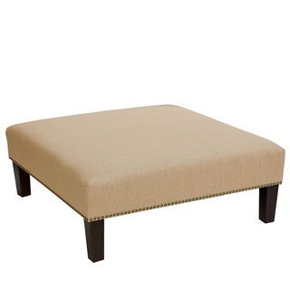 Skyline Furniture Linen Sandstone Nail Button Cocktail Ottoman