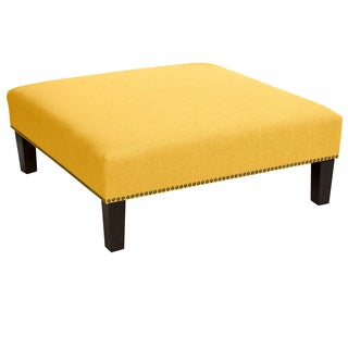 Skyline Furniture Linen French Yellow Nail Button Cocktail Ottoman