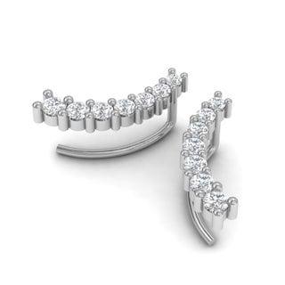 1/2ct Diamond Ear Climbers In 14K White Gold (I-J, I1-I2)
