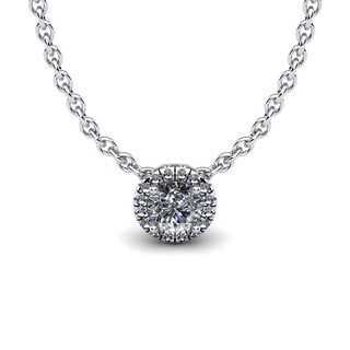 1/2ct Diamond Halo Center Of The Universe Necklace In 14K White Gold (H-I, I1-I2)