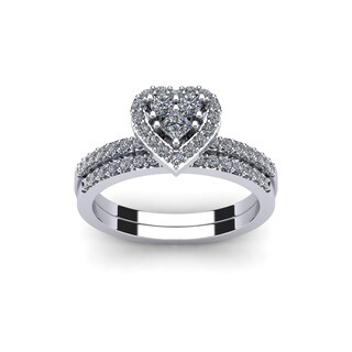 1/2 Carat Heart Shaped Bridal Engagement Ring Set in White Gold (I1-I2)