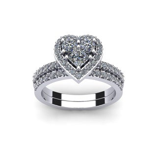 1 Carat Heart Shaped Bridal Engagement Ring Set in 14K White Gold (I1-I2)
