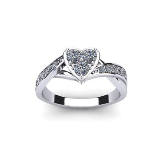 1/2 Carat Heart Shaped Bridal Engagement Ring In White Gold (I1-I2)
