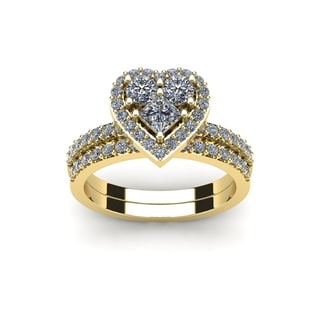 1 Carat Heart Shaped Bridal Engagement Ring Set in 14K Yellow Gold (I1-I2)