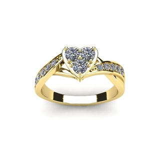 1/2 Carat Heart Shaped Bridal Engagement Ring In Yellow Gold (I1-I2)