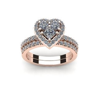 1 Carat Heart Shaped Bridal Engagement Ring Set in 14K Rose Gold (I1-I2)