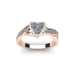 1/2 Carat Heart Shaped Bridal Engagement Ring In Rose Gold (I1-I2)