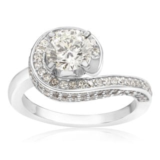 Modern Asymmetrical Round Brilliant 2 Carat Diamond Engagement Ring In 14K White Gold (H-I, I1-I2)