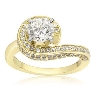 Modern Asymmetrical Round Brilliant 2 Carat Diamond Engagement Ring In 14K Yellow Gold (H-I, I1-I2)