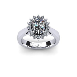 1 1/2ct Oval And Round Diamond Classic Engagement Ring In 14 Karat White Gold (I-J, I1-I2)