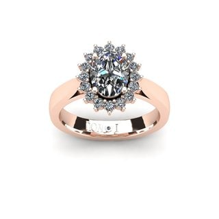 1 1/2ct Oval And Round Diamond Classic Engagement Ring In 14 Karat Rose Gold (I-J, I1-I2)