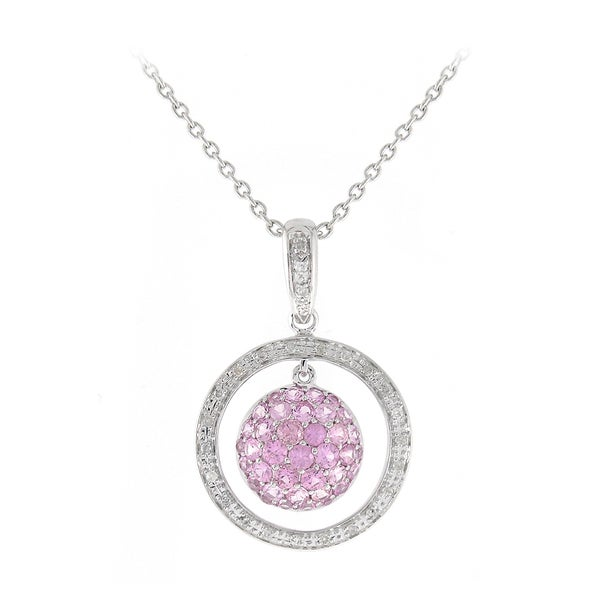 Sterling Silver 1/8ct TDW Diamonds and Pink Sapphire Pendant (I-J, SI1-SI2)