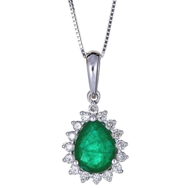 Anika and August 18k White Gold Pear-cut Zambian Emerald and Diamond Pendant