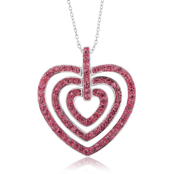 Rhodium-plated Pink Crystal Hearts Within Hearts Necklace