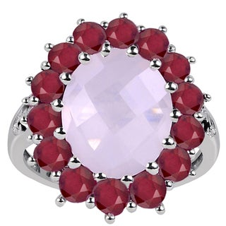 6.15 Carat Weight Genuine Rose Quartz Ruby and Spinel 925 Sterling Silver Ring