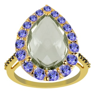 4.75 Carat Weight Genuine Green Amethyst Tanzanite and Spinel 925 Sterling Silver Ring