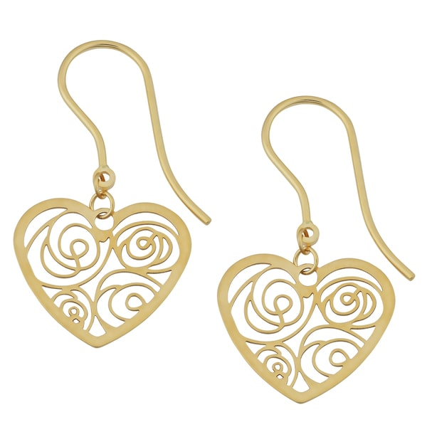 Fremada 18k Yellow Gold Italian Filigree Heart Drop Earrings 17784021