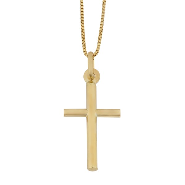 Fremada 18k Yellow Gold Italian Cross Pendant on Complementary Box Chain Necklace (18 inches) 17784028