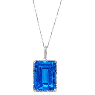 Kabella 14k White Gold Diamond Accent and Blue Topaz Pendant