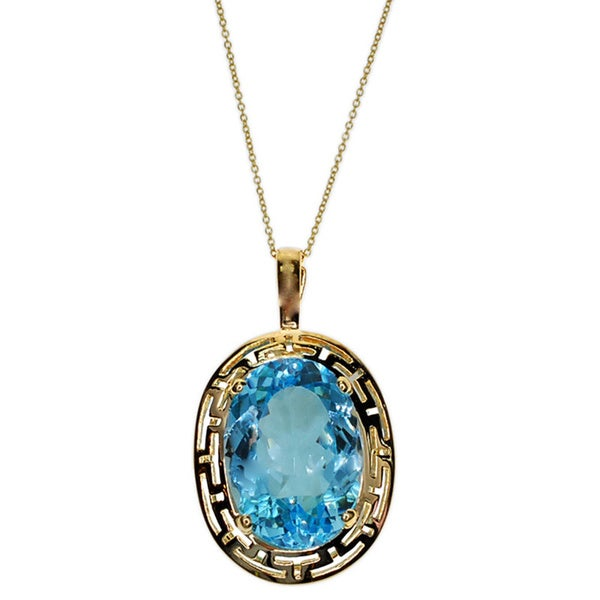 Kabella 14k Yellow Gold Blue Topaz Pendant